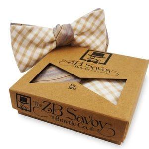"""ZB Savoy Tan Striped Checked """"Phuket"""" Bow Tie"""